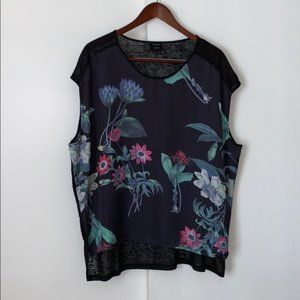 Cliche Wild Flower Sheer Blouse Large
